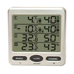 Wireless IndoorOutdoor 8-Channel Thermo-Hygrometer with Three Remote Sensors